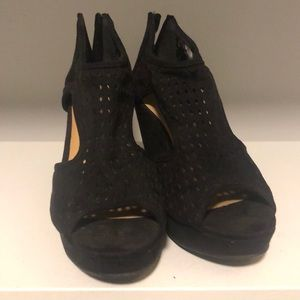 Maurices black perforated suede wedge